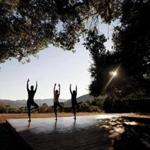 Hilltop yoga at Carmel Valley Ranch in the Santa Lucia Mountains south of San Francisco.